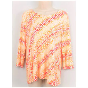 Chico's Sz 1 Stretchy Orange and White Print Top M